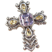Vintage Sterling Silver Amethyst and Citrine Cross Pendant
