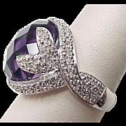 Vintage Sterling Silver Large Amethyst Ring