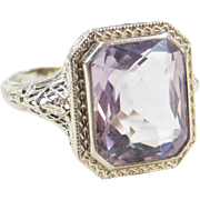 Art Deco 14k White Gold 4.50 Carat Decorative Amethyst Ring