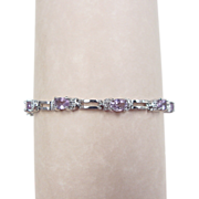 Vintage Sterling Silver Amethyst and Diamond Bracelet