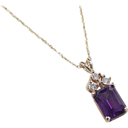 Vintage 14k Gold 1.66 ctw Amethyst and Diamond Necklace 17""