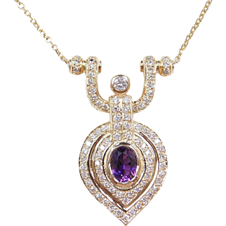 "Vintage 14k Gold 2.05 ctw Amethyst and Diamond Necklace ~ 16"" - 18"""