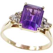 Vintage 14k Gold 2.40 ctw Amethyst and Diamond Ring