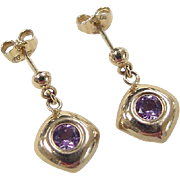 Vintage 10k Gold Amethyst Drop Earrings
