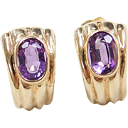 Vintage 14k Gold Amethyst Stud Earrings