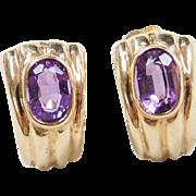 Vintage 14k Gold Amethyst Stud Earrings