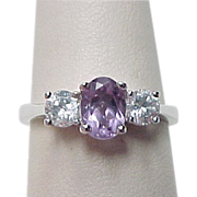 Vintage Sterling Silver Amethyst and Faux Diamond Ring