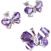 Sterling Silver Amethyst and Faux Diamond Butterfly Stud Earrings and Pendant Set