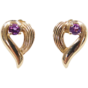 Vintage 14k Gold Amethyst Heart Stud Earrings