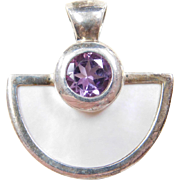 Sterling Silver Mother of Pearl and Amethyst Pendant