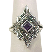 Vintage Sterling Silver Amethyst and Marcasite Ring