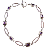 """Sterling Silver Amethyst Necklace 16"""""""