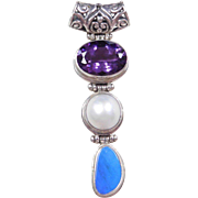 Sterling Silver Amethyst, Cultured Pearl and Opal Pendant