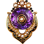 Victorian 14k Gold Amethyst, Seed Pearl and Black Enamel Pendant / Pin
