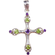 Sterling Silver Amethyst and Peridot Cross Pendant