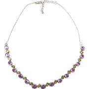 "Sterling Silver Amethyst and Peridot Necklace ~ 16 1/2"" - 18 1/2"""