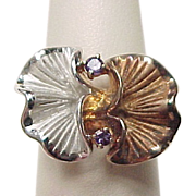 Vintage Sterling Silver Two-Tone Amethyst Curved Petal Flower Ring