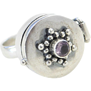 Sterling Silver Amethyst Poison Ring Size 8 1/2