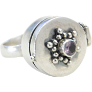 Sterling Silver Amethyst Poison Ring Size 6 3/4