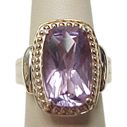 Vintage Sterling Silver Amethyst Ring with Bead Setting