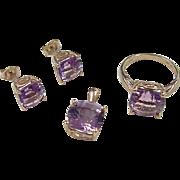Vintage 10k Gold 12.80 ctw Amethyst Set  ~ Stud Earrings, Pendant and Ring