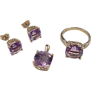 Vintage 10k Gold 12.80 ctw Amethyst Set  ~ Stud Earrings, Pendant and Ring