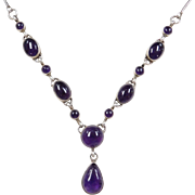 "Sterling Silver Amethyst Necklace ~ 21 1/2"" - 22 1/2"""