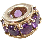 Vintage 14k Gold Amethyst Spacer Bead Charm