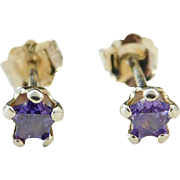 Sterling Silver Amethyst Star Stud Earrings