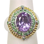 Vintage Sterling Silver Two-Tone Amethyst and Tsavorite Ring