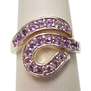 Vintage Sterling Silver Amethyst By-Pass Ring