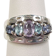 Vintage Sterling Silver Amethyst, Iolite and Blue Topaz Ring