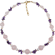 "Gold Vermeil Amethyst Chips, Cultured Pearls and Rose Quartz Beaded Necklace ~ 19"" - 21"""