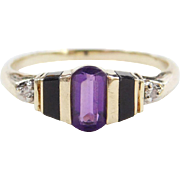 Vintage 14k Gold Amethyst, Onyx and Diamond Ring
