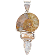 Sterling Silver Long Ammonite, Pearl and Druzy Pendant