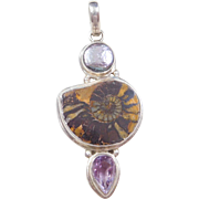 Sterling Silver Ammonite, Abalone Pearl and Amethyst Pendant
