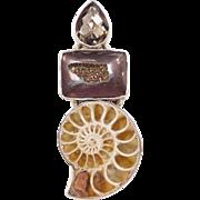 Sterling Silver Ammonite, Smoky Quartz and Druzy Pendant