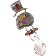 Sterling Silver Long Ammonite, Amber, Garnet and Mother of Pearl Pendant