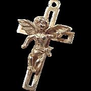 Vintage 14k Gold Angel Cross Charm