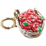 Vintage 14k Gold Two-Tone Enamel Basket of Apples Charm