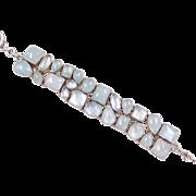 """Sterling Silver Aquamarine Bracelet ~ 7"""" - 8 1/4"""""""