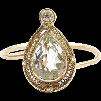 Edwardian 14k Gold 1.07 ctw Aquamarine and Diamond Ring ~ Converted Stick Pin