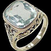 Edwardian 14k Gold Two-Tone 4.20 ctw Aquamarine Ring