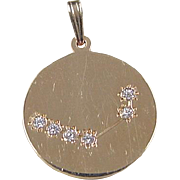 Vintage 14k Gold Aries Faux Diamond Constellation Pendant