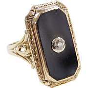 Art Deco 10k Gold Two-Tone Onyx and Diamond Ring