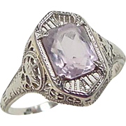 Art Deco 14k White Gold Amethyst Ring