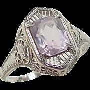 Art Deco 14k White Gold Amethyst Ring