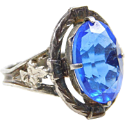 Art Deco Sterling Silver Blue Glass Ring