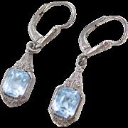 Art Deco 935 Silver Blue Topaz Dangle Earrings ~ Lever Backs