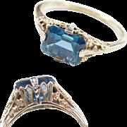 Art Deco 10k & 14k Gold Two-Tone Blue Topaz Ring